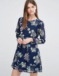 Цельнокройное платье с длинными рукавами и принтом бабочек Yumi