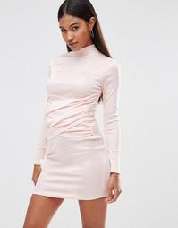 Облегающее платье с высоким воротом и запахом спереди Club L - Blush