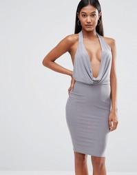 Облегающее платье с высокой горловиной Club L - Серый