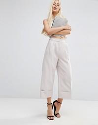 Юбка-брюки с отворотами и завышенной талией ASOS - Серебряный