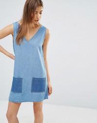 Джинсовое платье в стиле пэчворк Liquor and Poker Mia - Синий