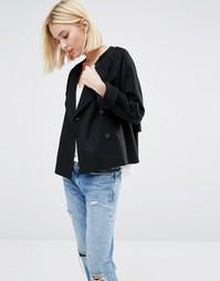 Короткое пальто из шерстяного фетра Selected Dana - Черный