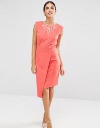 Платье-футляр с вышивкой Little Mistress - Коралловый