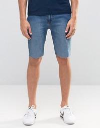 Стретчевые джинсовые шорты с необработанными краями и напылением Kubba Kubban