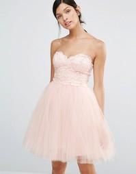 Платье для выпускного с кружевным лифом Little Mistress - Телесный