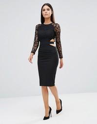 Платье миди с длинными рукавами и вырезами Club L - Черный