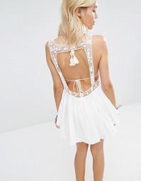 Белое пляжное платье мини в стиле кроше Surf Gypsy - Белый
