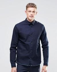 Темная джинсовая рубашка навыпуск с длинными рукавами и двумя карманам Asos