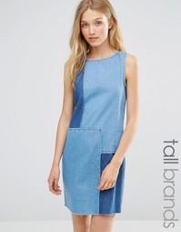 Джинсовое платье в стиле пэчворк Vero Moda Tall - Синий деним