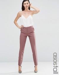 Строгие брюки-сигареты узкого кроя ASOS TALL - Темно-ягодный