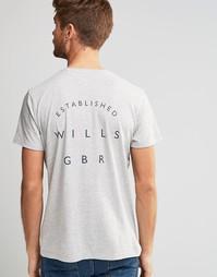 Серая футболка с принтом на спинке Jack Wills - Lt ash mrl