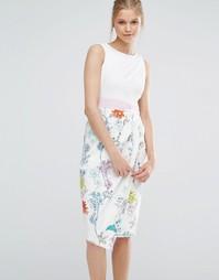 Контрастное платье миди 2 в 1 Closet