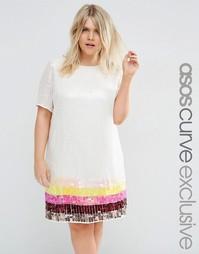 Цельнокройное платье с пайетками ASOS CURVE - Мульти