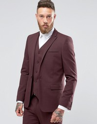 ASOS Skinny Suit Jacket In Burgundy - Burgundy