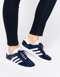 Темно-синие замшевые кроссовки adidas Originals Gazelle - Темно-синий