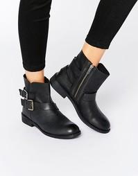 Кожаные байкерские ботинки Rule London Vida - Черная кожа