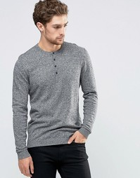 ASOS Grandad Neck Jumper in Black and White Twist Cotton - Черно-белый