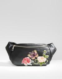 Сумка-кошелек на пояс с вышивкой ASOS - Черный