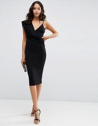 Облегающее платье миди на одно плечо с драпировкой спереди ASOS