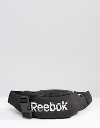 Черно-белая сумка‑кошелек на пояс с логотипом Reebok - Черный