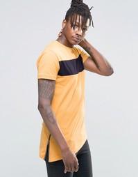Удлиненная футболка с молнией сбоку Kubban Denim - Коричневый