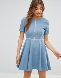 Джинсовое платье с отделкой Oh My Love - Синий деним