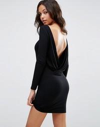 Платье мини с длинными рукавами и запахом сзади ASOS - Черный