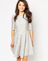 Платье из дамасского жаккарда Traffic People Audrey - Дымчато-серый