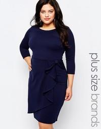 Платье с драпировкой Goddiva Plus - Темно-синий