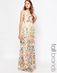 Платье макси со сплошной цветочной вышивкой True Decadence Tall