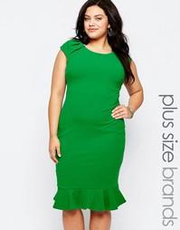 Платье с рюшами по низу Goddiva Plus - Нефрит