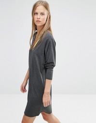 Классическое платье с V-образным вырезом Ganni - Черный меланж