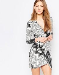 Асимметричное платье с запахом и черно-белым принтом Liquorish