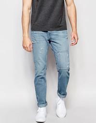 Зауженные джинсы с заплатками Hollister - Синий