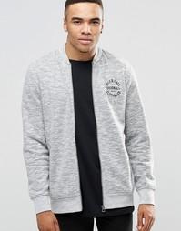 Трикотажная куртка-пилот на молнии с логотипом Jack & Jones - Серый