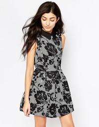 Платье с цветочным принтом и воротником Iska - Черный