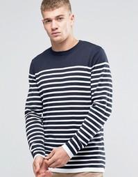 Вязаный свитер в бретонскую полоску Jack & Jones - Темно-синий