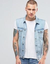Голубая джинсовая куртка без рукавов с выбеленным эффектом Kubban