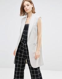 Пальто без рукавов Shades of Grey - Светло-серый в елочку