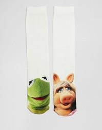 2 пары носков с лягушонком Кермитом и мисс Пигги ASOS - Белый