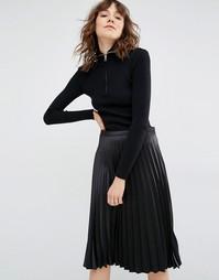 Пуловер в рубчик с молнией Gestuz Amira - Черный