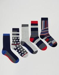5 пар носков в горошек и полоску Urban Eccentric - Мульти