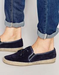 Коричневые замшевые туфли-слипоны с кисточками Dune - Синий