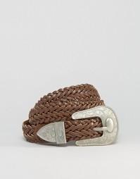 Кожаный плетеный ремень в стиле вестерн ASOS - Коричневый