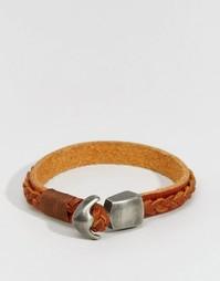 Кожаный браслет с плетеной отделкой Jack & Jones - Коричневый