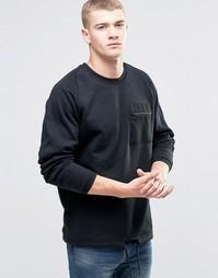 Свитшот с карманом на молнии и шнурком по краю Jack & Jones - Черный