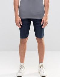 Стретчевые джинсовые шорты суперзауженного кроя с необработанными края Kubban
