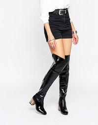 Черные сапоги‑ботфорты с отделкой на каблуке Daisy Street