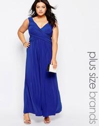 Платье макси размера плюс с запахом спереди Goddiva Plus