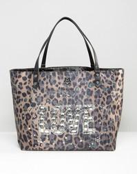 Сумка-шоппер с леопардовым принтом Love Moshino - Verde